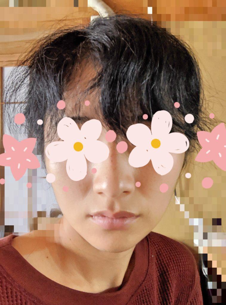 癖毛の自分の写真